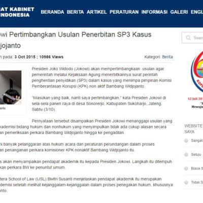 Presiden Jokowi Pertimbangkan Usulan Penerbitan SP3 Kasus Bambang Widjojanto